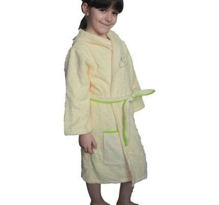 Бежов детски халат памук