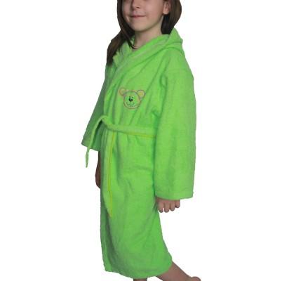 Зелен детски халат памук