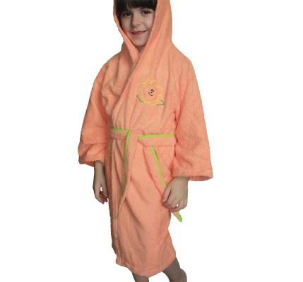Оранжев  детски халат памук