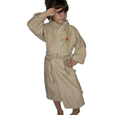 Тъмно бежов детски халат памук