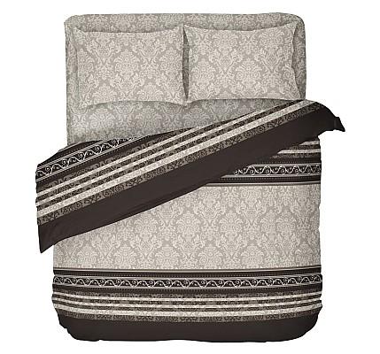Спално бельо ранфорс в кафяво и бежово с класически мотиви - Рококо