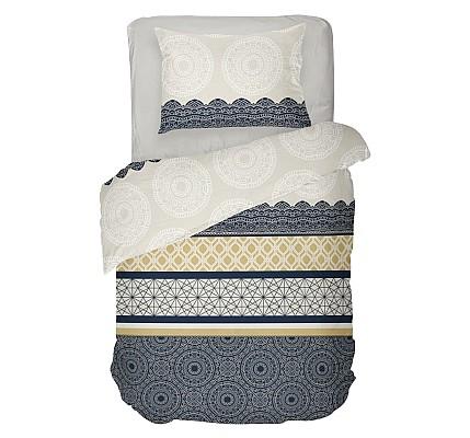 Спално бельо ранфорс в черно и бяло Амира със стилен дизайн