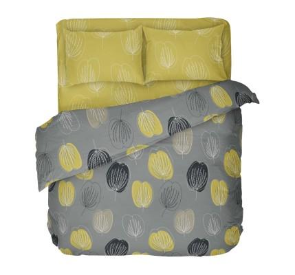 Модерно спално бельо в сиво и жълто Грейс с мотив листа