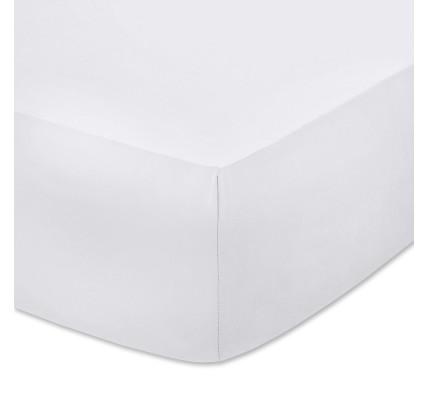 Бял чаршаф с ластик - плътно трико