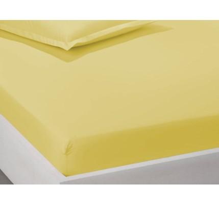 Чаршаф с ластик ранфорс памук – жълто