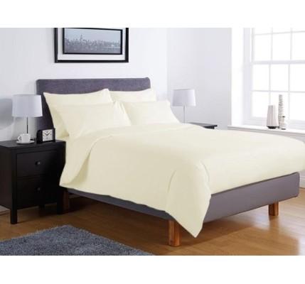Едноцветно спално бельо ранфорс – екрю