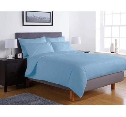 Едноцветно спално бельо ранфорс – синьо