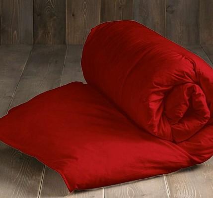 Олекотена завивка от ранфорс памук - червена - Капитонирана