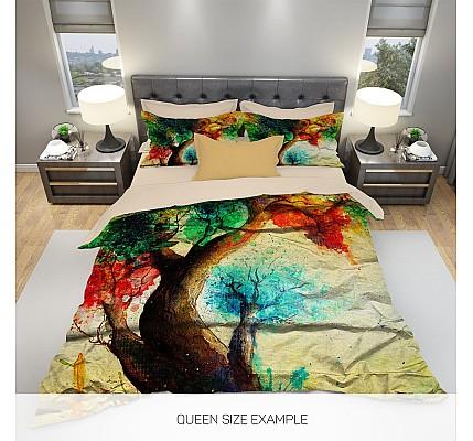 3Д Абстрактно дърво спално бельо сатениран памук