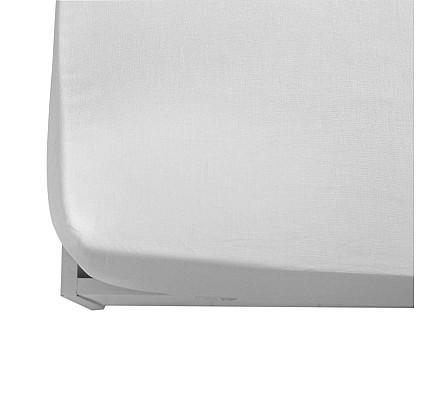 Бял долен чаршаф от памук ранфорс с ластик