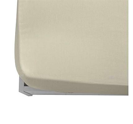 Долен чаршаф ранфорс с ластик в цвят Екрю
