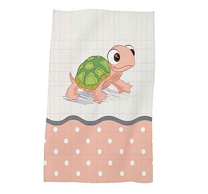 Детска хавлиена кърпа Розова костенурка памук и полиестер