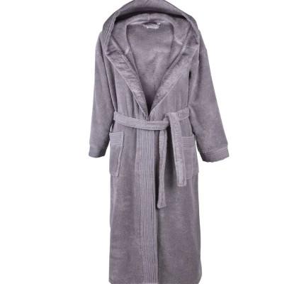 Халат за баня Пюър в сиво от висококачествен микропамук