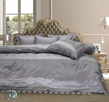 Луксозно спално бельо Памучен Сатен Жакард с дантела Афродита Лила