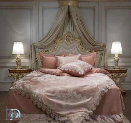 Луксозно спално бельо Памучен Сатен Жакард с дантела Афродита Праскова