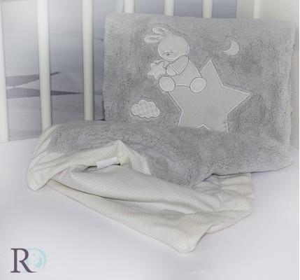 Полиестерно Бебешко Одеяло Доди Сиво с Апликация