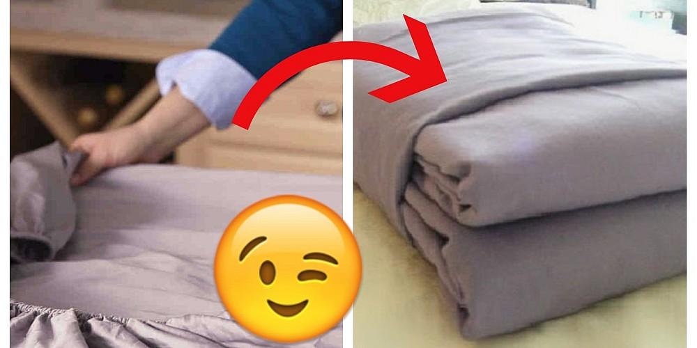 Така най-лесно може сгъвате чаршафите с ластик, пликовете и завивките си
